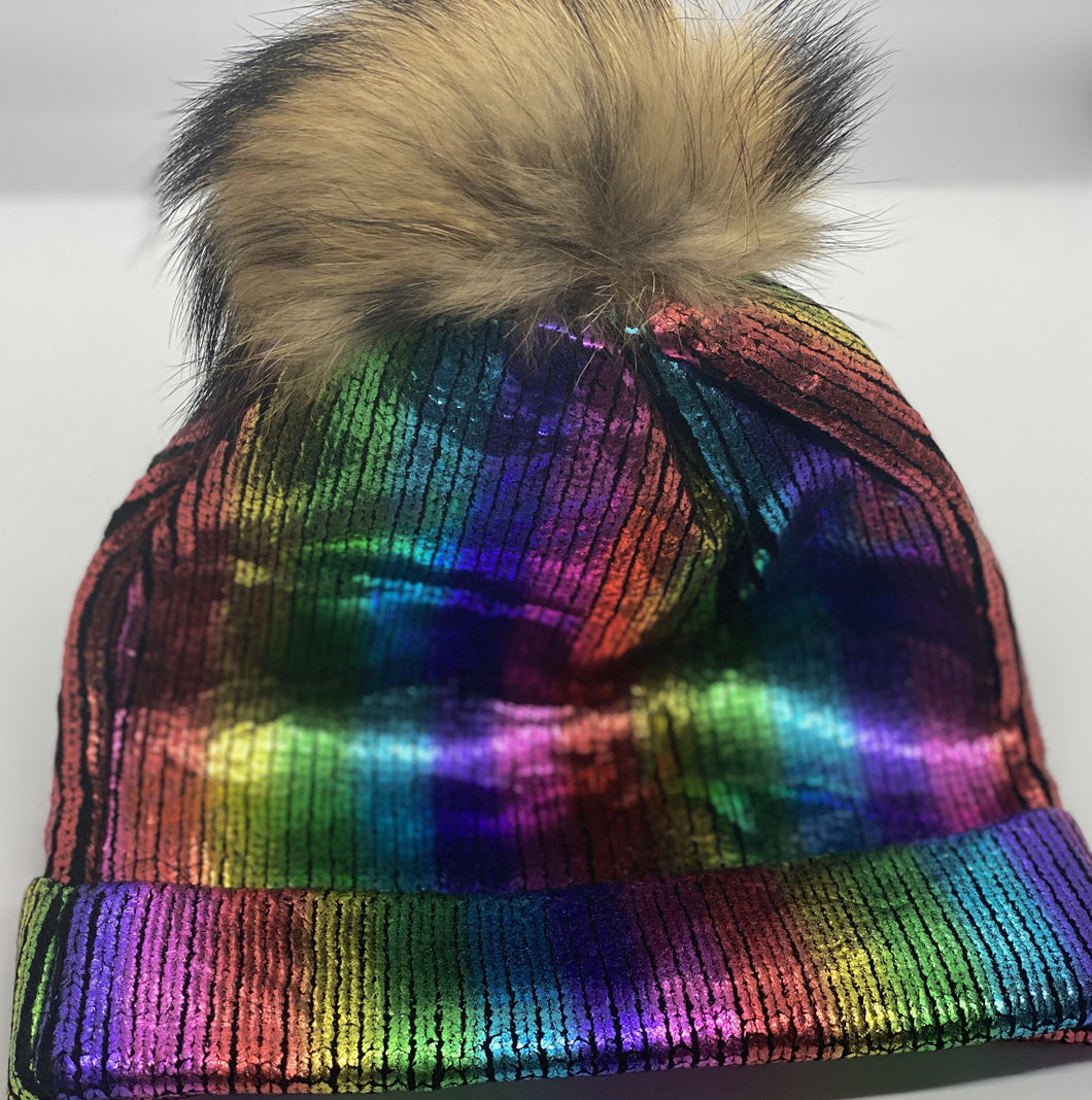 Real Fur Rainbow Metallic Hat