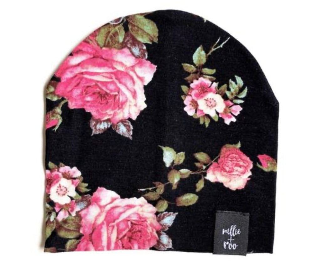 Dusty Floral Beanie (Black Combo)