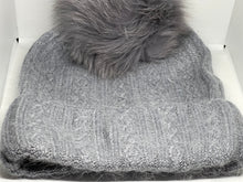 Load image into Gallery viewer, Cable Knit Adult Fur Pom Hat