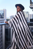 Stripe Kimino Sleeve Maxi Dress