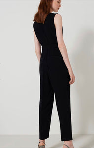 Black jumpsuit with neckline diamante detail
