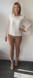Cream Blouse with pleated sleeve