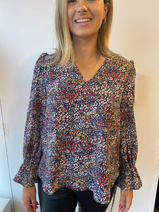 Navy multi-coloured blouse