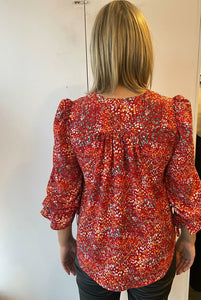Red/Orange multi-coloured blouse