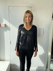 Black Blouse with sequin cuffs