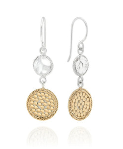 Hammered Double Drop Earrings - Gold & Silver