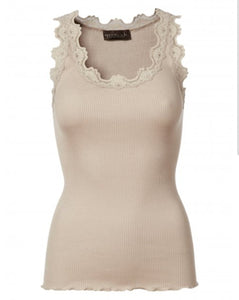 Iconic silk top with lace - Cacao