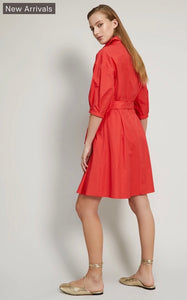Coral red cotton poplin shirt dress
