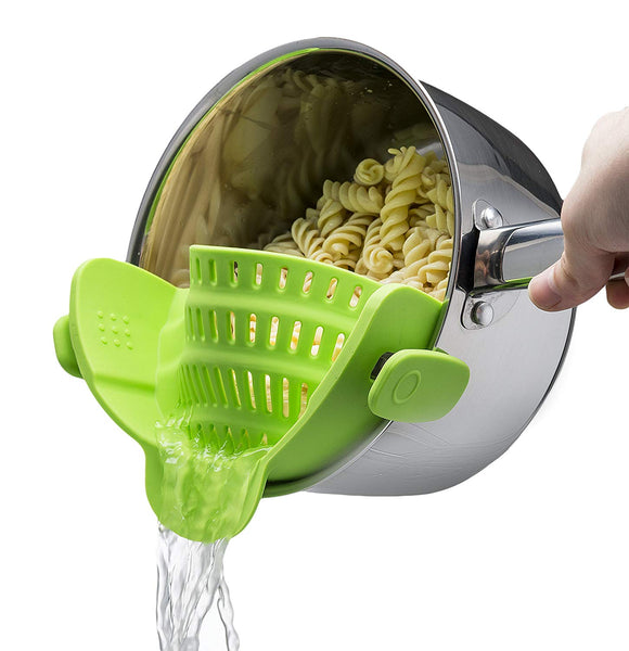 Silicone clip on strainer, kitchen gadget, great gift,  cool cooking accessory, tool, utensil kitchenware