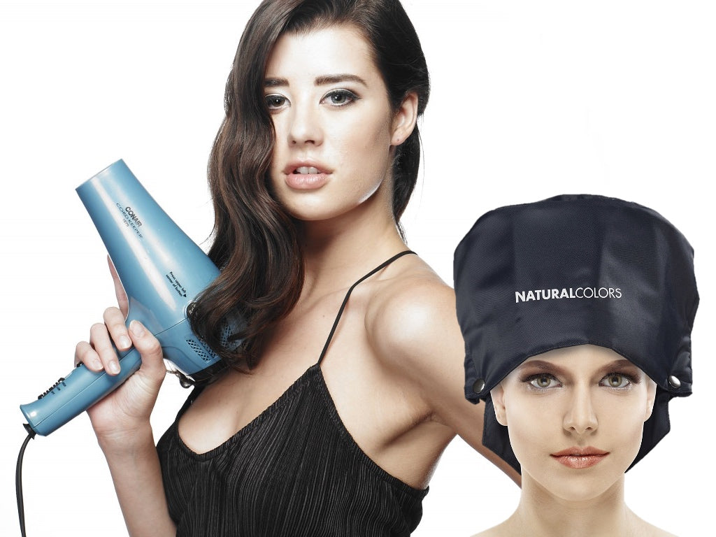 ONC NATURALCOLORS Thermal Heat Cap and girl with hair dryer