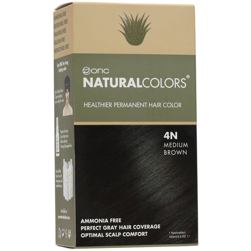 ONC NATURALCOLORS 4N Natural Medium Brown Hair Dye With Organic Ingredients 120 mL / 4 fl. oz.