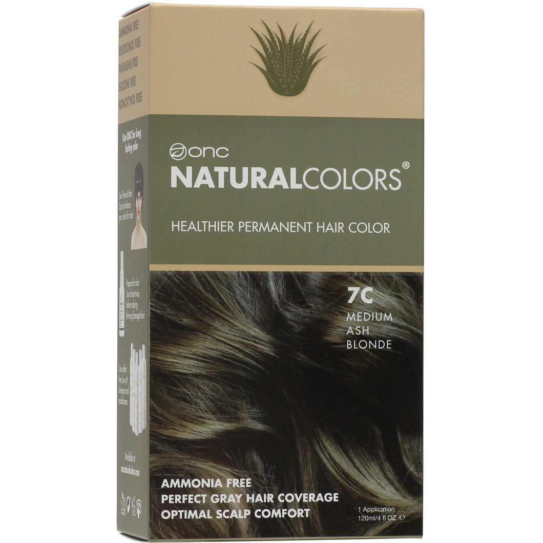 ONC NATURALCOLORS 7C Medium Ash Blonde Hair Dye With Organic Ingredients 120 mL / 4 fl. oz.
