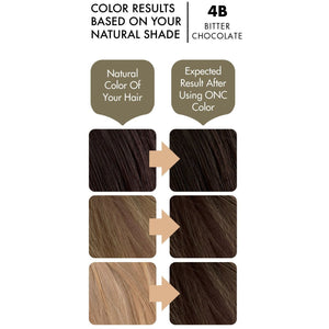 ONC 4B Bitter Chocolate Hair Dye With Organic Ingredients 120 mL / 4 fl. oz. Color Result