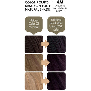 ONC 4M Medium Mahogany Brown Hair Dye With Organic Ingredients 120 mL / 4 fl. oz. Color Results
