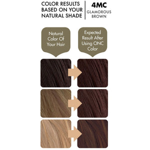 ONC 4MC Glamorous Brown Hair Dye With Organic Ingredients 120 mL / 4 fl. oz. Color Results