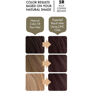 ONC 5R Rich Copper Brown Hair Dye With Organic Ingredients 120 mL / 4 fl. oz. Color Results