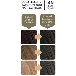 ONC 6N Natural Dark Blonde Hair Dye With Organic Ingredients 120 mL / 4 fl. oz. Color Results