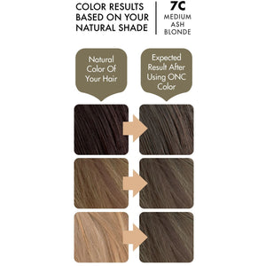 ONC 7C Medium Ash Blonde Hair Dye With Organic Ingredients 120 mL / 4 fl. oz. Color Results