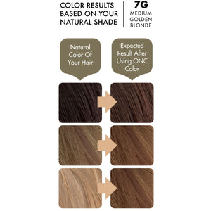 ONC 7G Medium Golden Blonde Hair Dye With Organic Ingredients 120 mL / 4 fl. oz. Color Results