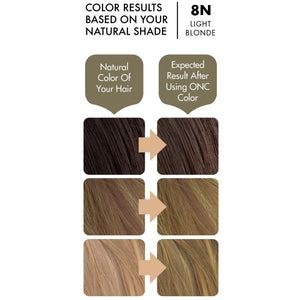 ONC 8N Natural Light Blonde Hair Dye With Organic Ingredients 120 mL / 4 fl. oz. Color Results