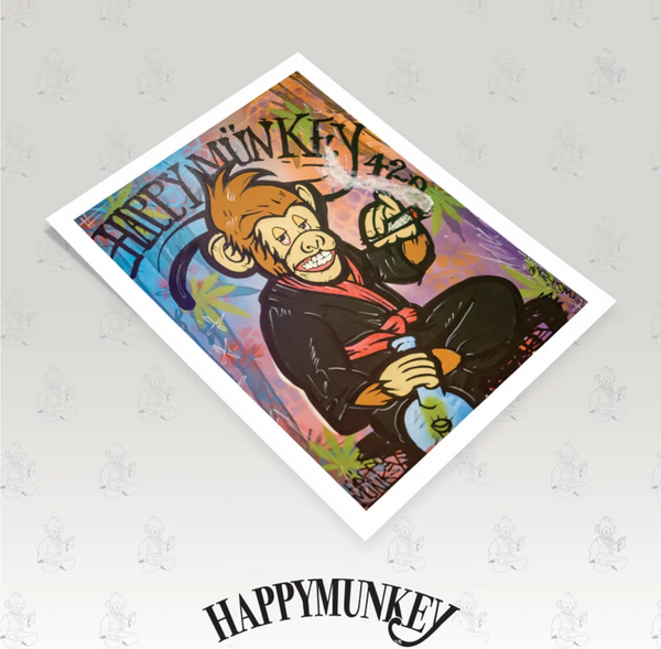 """Happy Munkey"" By Woken Arts Poster Print"