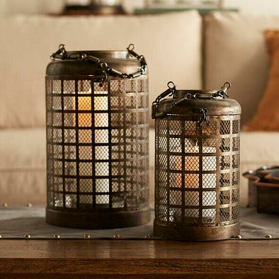 Metal Lantern With Mesh Set