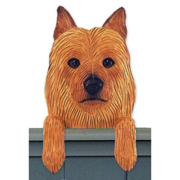 Wood Carved Australian Terrier Dog Door Topper