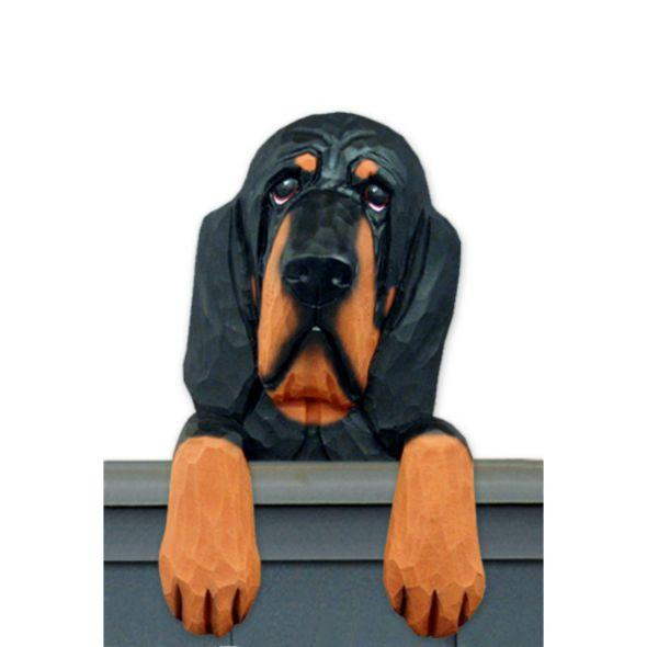 Wood Carved Bloodhound Dog Door Topper