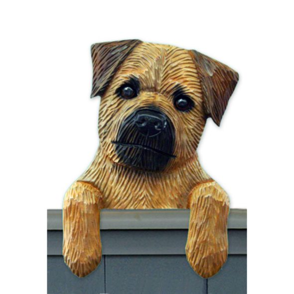 Wood Carved Border Terrier Dog Door Topper