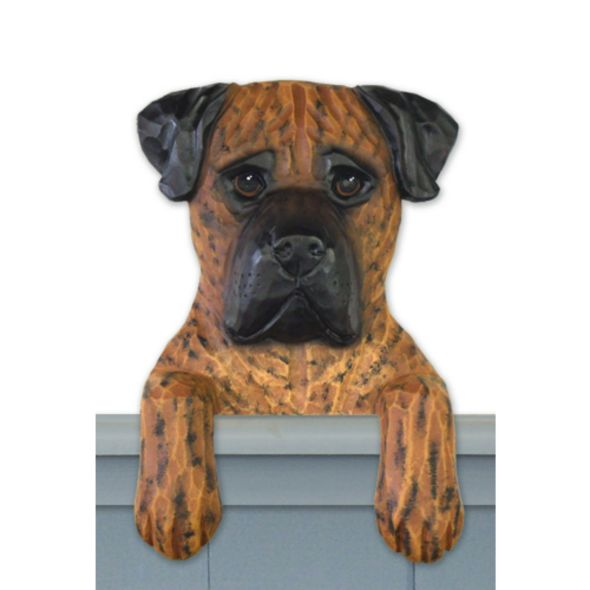 Wood Carved Bullmastiff Dog Door Topper
