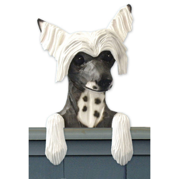Wood Carved Chinese Crested Dog Door Topper