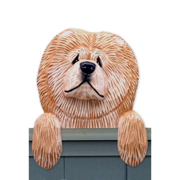 Wood Carved Chow Chow Dog Door Topper