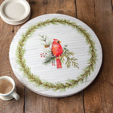 Christmas Cardinal Lazy Susan - Holiday Turntable - Shugar Plums Gift Store