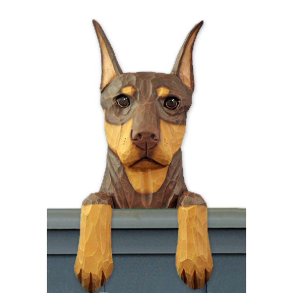 Wood Carved Doberman  Dog Door Topper