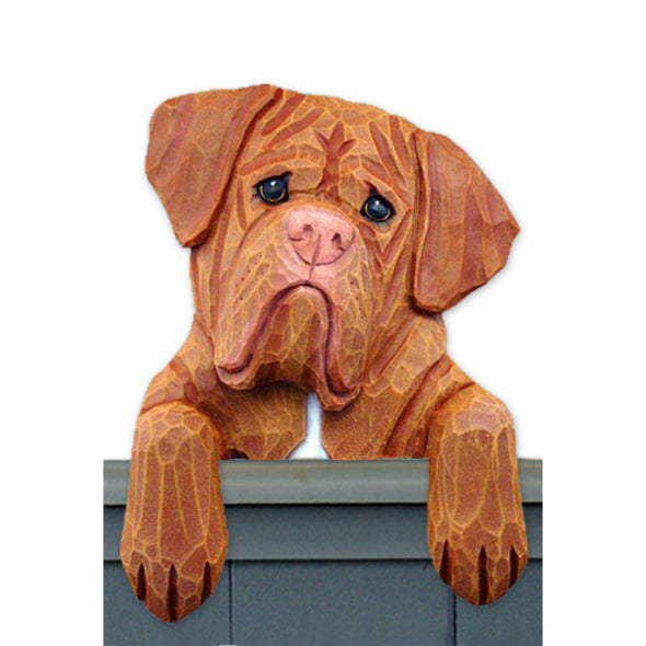 Wood Carved Dougue de Bordeaux Dog Door Topper