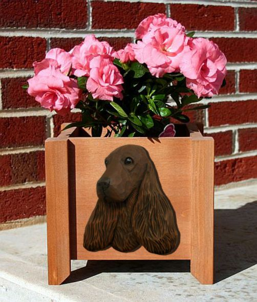 Handmade English Cocker Spaniel Dog Planter Box