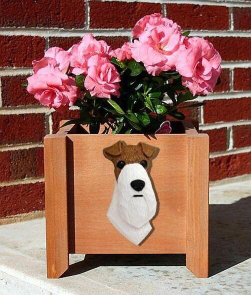 Handmade Wire Fox Terrier Dog Planter Box