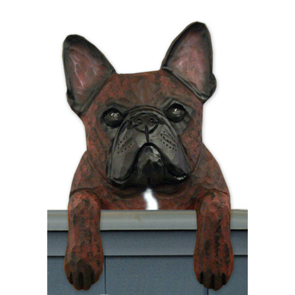 Wood Carved French Bulldog Dog Door Topper