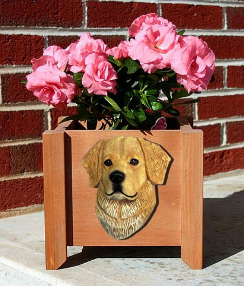Handmade Golden Retriever Dog Planter Box