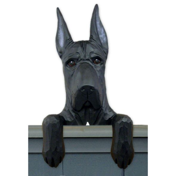 Wood Carved Cropped Great Dane  Dog Door Topper