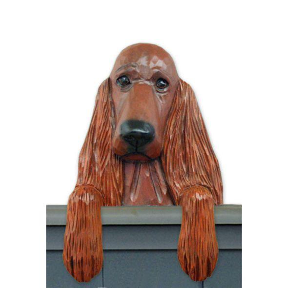 Wood Carved Irish Setter Dog Door Topper