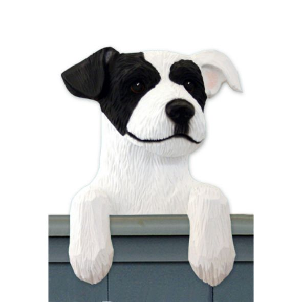 Wood Carved Jack Russell Terrier Dog Door Topper