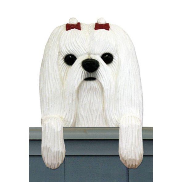Wood Carved Maltese Dog Door Topper