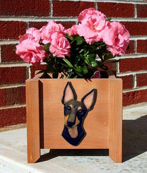 Handmade Manchester Terrier Dog Planter Box