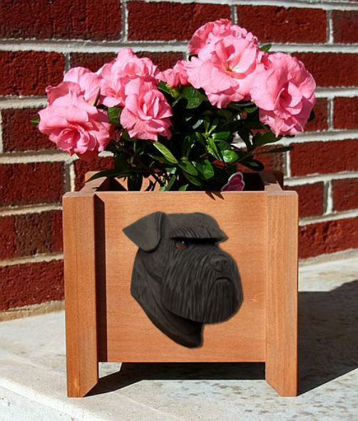Handmade Natural Schnauzer Dog Planter Box
