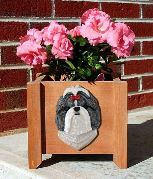 Handmade Shih Tzu Dog Planter Box