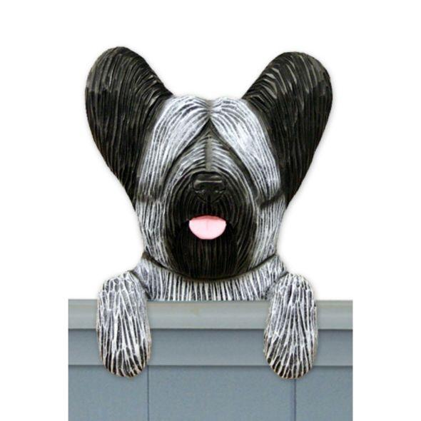 Wood Carved Skye Terrier Dog Door Topper