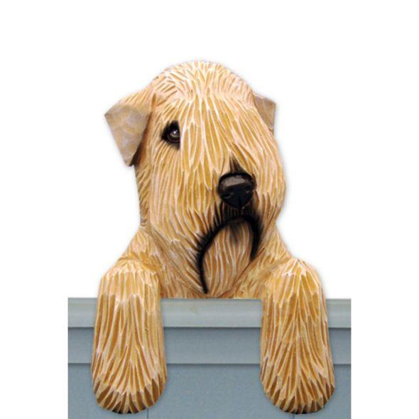 Wood Carved Soft Coated Wheaten Terrier Dog Door Topper