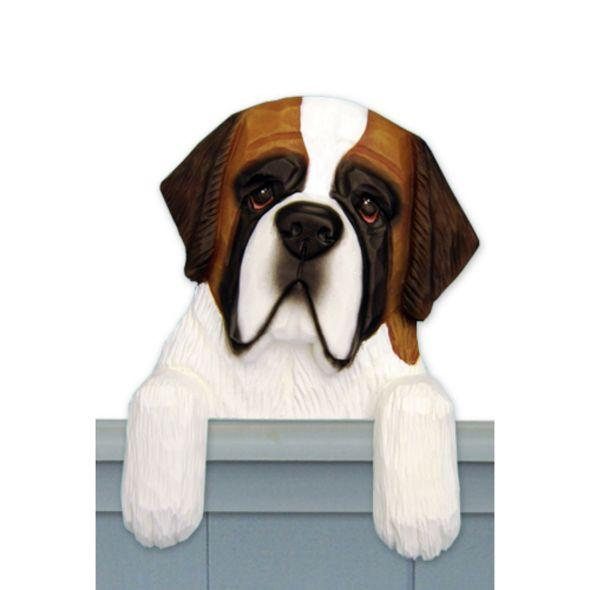 Wood Carved Saint Bernard Dog Door Topper