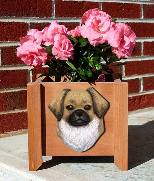 Handmade Tibetan Spaniel Dog Planter Box